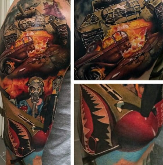 Man With Fighter Jet Air Force Sleeve Tattoo