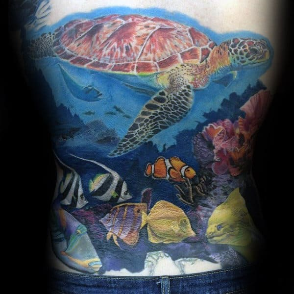 Man With Fish Turtle And Coral Reef Back Tattoo