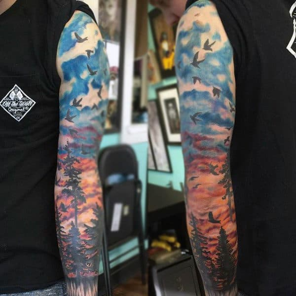 Man With Flock Of Birds Sunset Tattoo Full Sleeve