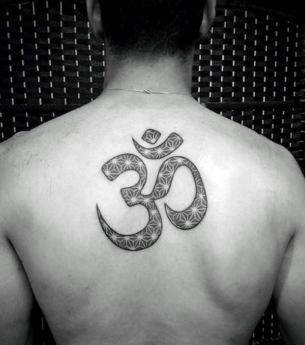 Man With Flower Of Life Geometric Om Upper Back Tattoos