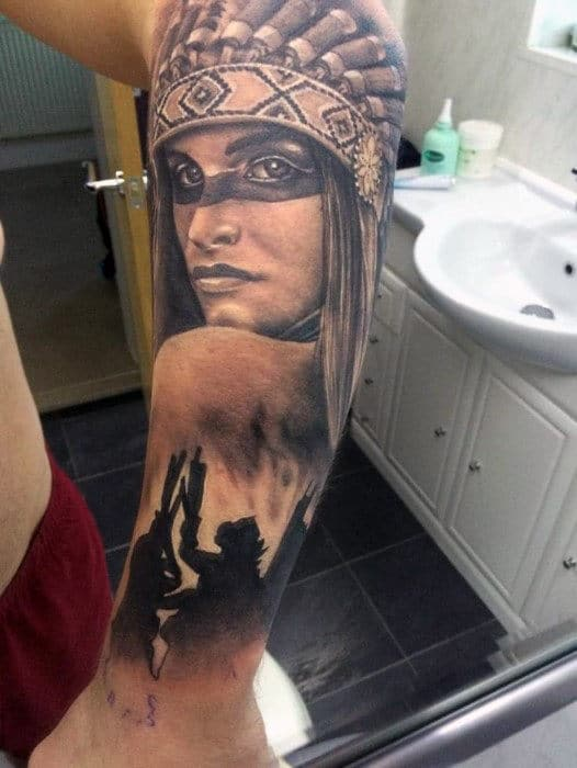 Man With Forearm Tattoo Of Beautiful Native American Girl