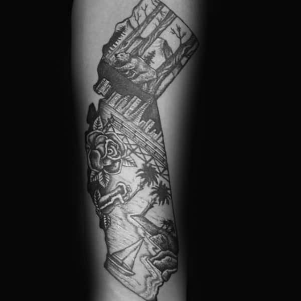 Man With Forearm Tattoo Of California Themed Design