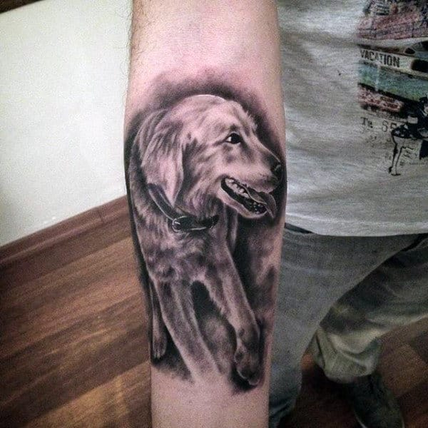 Man With Forearm Tattoo Of Shaded Dog In Black Ink