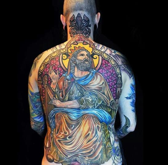 Man With Full Back Awesome Stained Glass Tattoo