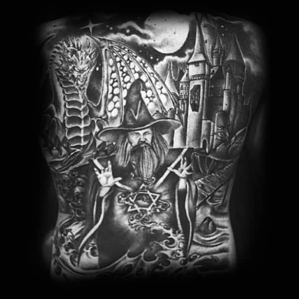 Man With Full Back Castle Wizard And Dragon Tattoo
