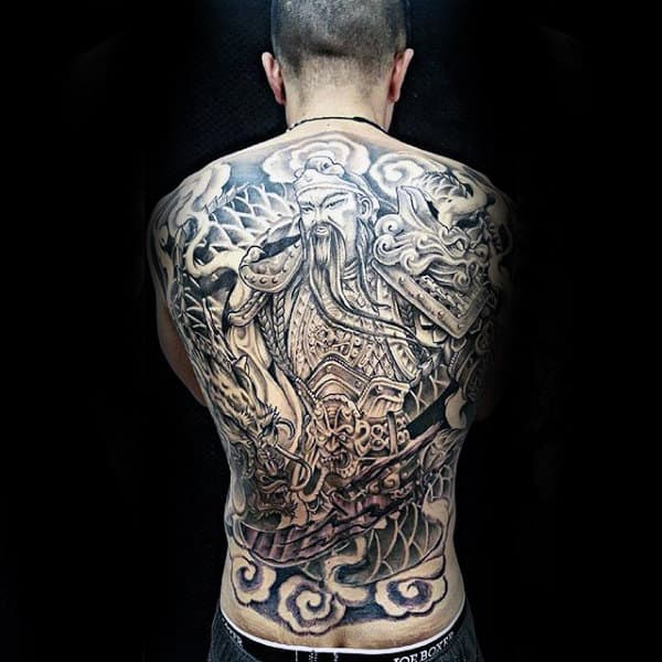 Man With Full Back Cool Chinese Themed Tattoo Design