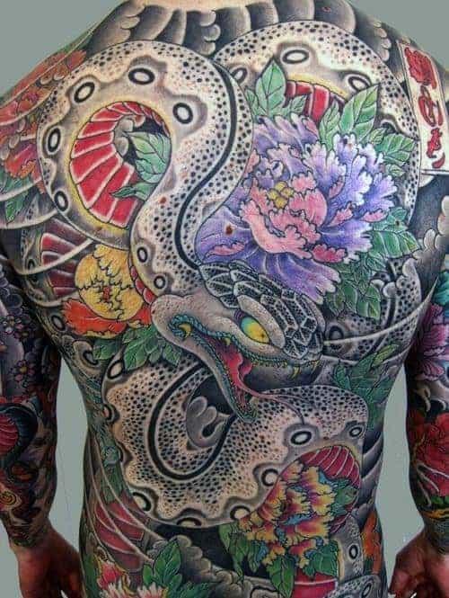 man-with-full-back-flower-japanese-snake-tattoos