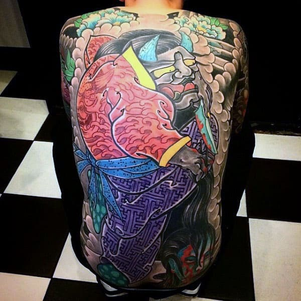 Man With Full Back Tattoo Of Colorful Japanese Design