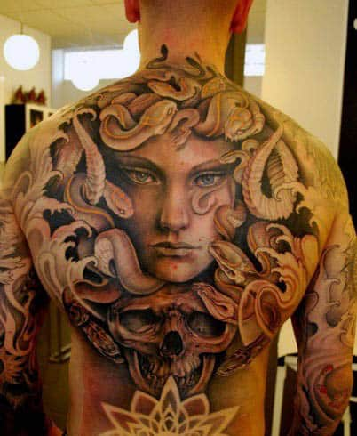 Man With Full Medusa Back Tattoos