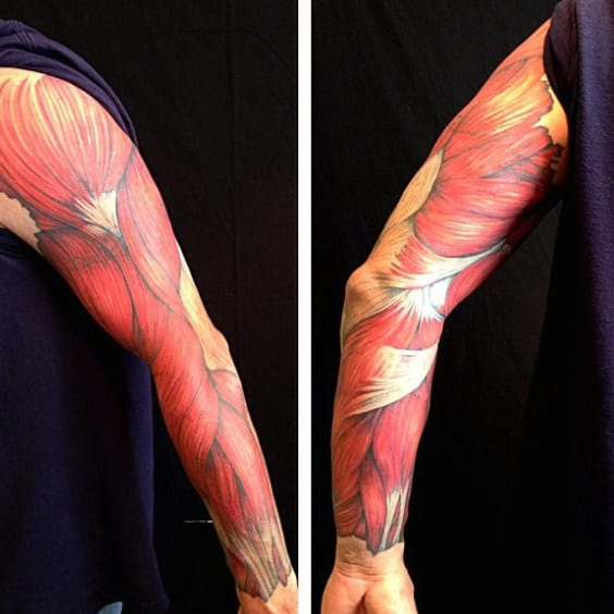 Man With Full Sleeve Muscle Tattoo Design