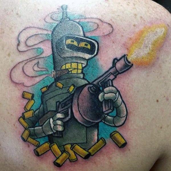 Man With Futurama Machine Gun Tattoo On Back