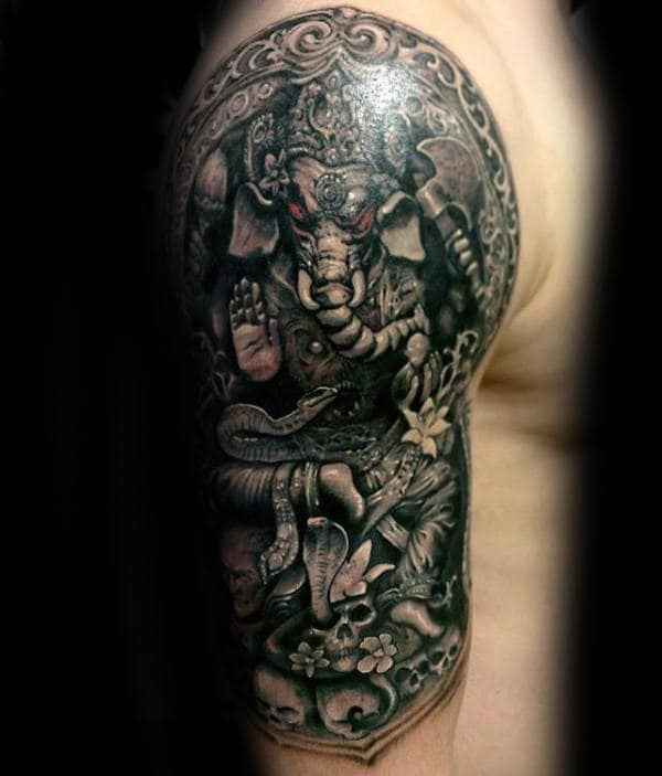 Man With Ganesh Tattoo Half Sleeve Design