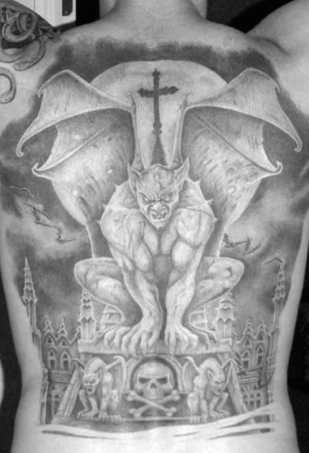 Man With Gargoyle Cross Back Tattoo Design