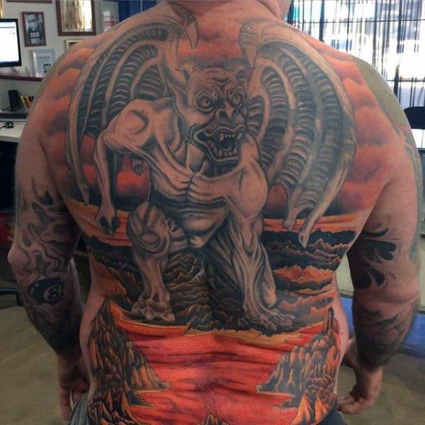 Man With Gargoyle Full Back Tattoo Design