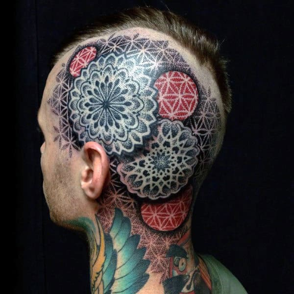 Man With Geometric Red And Black Ink Head Tattoos