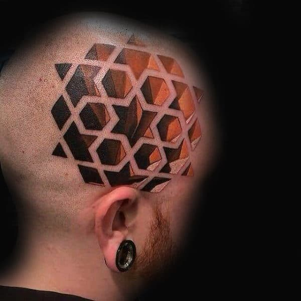 Man With Geometric Star 3d Head Tattoo Design