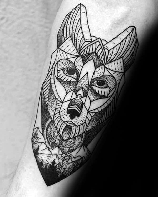 Man With Geometric Wolf Inner Forearm Tattoo