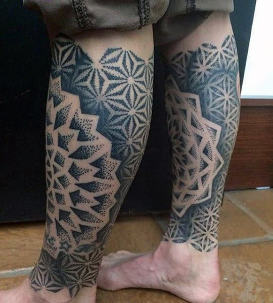 Man With Geometrical Designs In Sacred Geometry Triangle On Back Of Legs