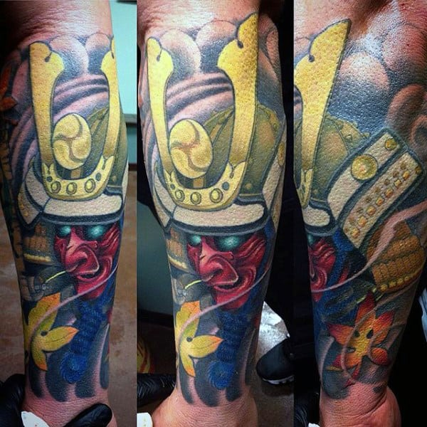 Man With Golden Armor Samurai Mask Tattoo Half Sleeve