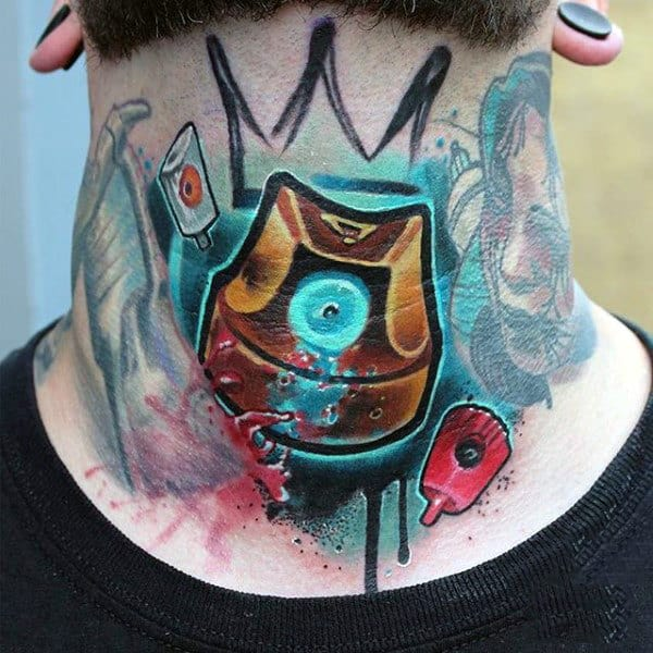 Man With Graffiti Nozzle Cap Tattoo On Neck