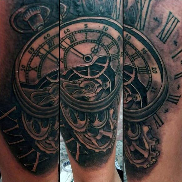 Man With Grandfather Clock Tattoos