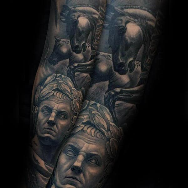 Man With Greek Themed Inner Forearm Tattoo