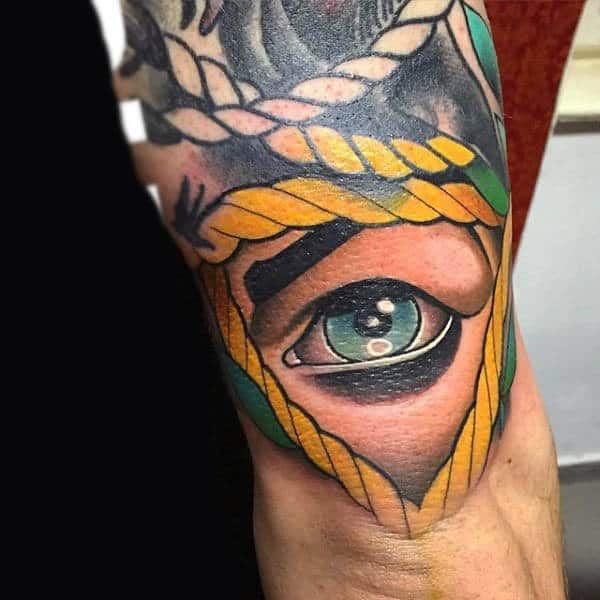 Man With Green Eye And Yellow Rope Neo Traditional Tattoo On Arms
