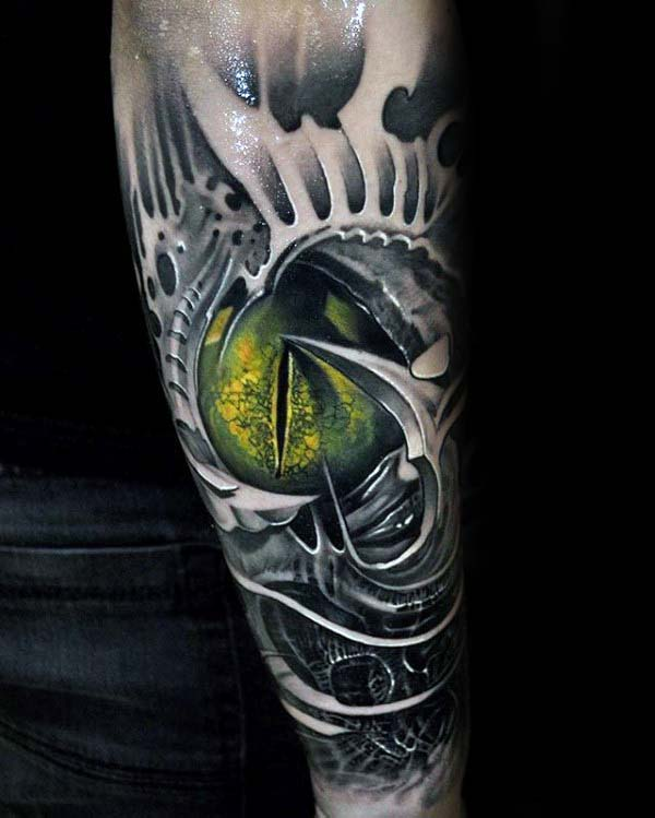 Man With Green Glowing Eye Extreme 3d Tattoo Forearm Sleeve
