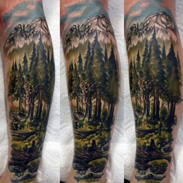 be8c12157 Man With Green Watercolor Forest Scene Half Sleeve Tattoo