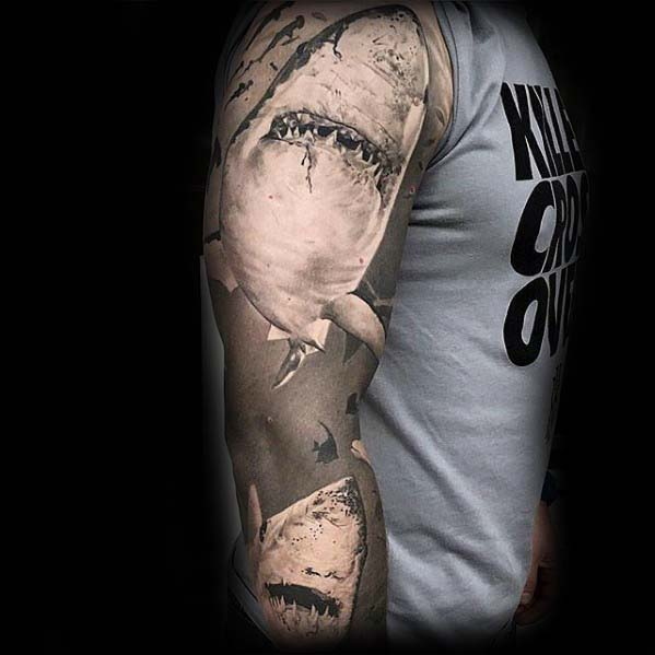 Man With Grey Ink Shaded Realistic 3d Shark Ocean Sleeve Tattoo
