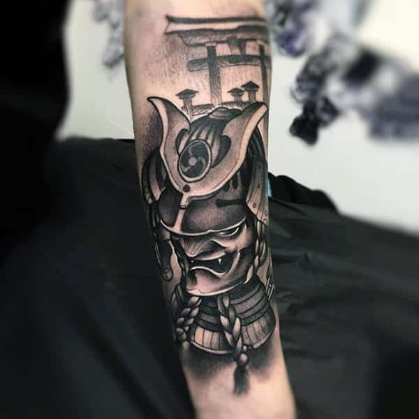 Man With Grining Evil Samurai Mask Half Sleeve Tattoo