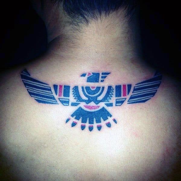 Man With Haida Tribal Eagle Upper Back Tattoo