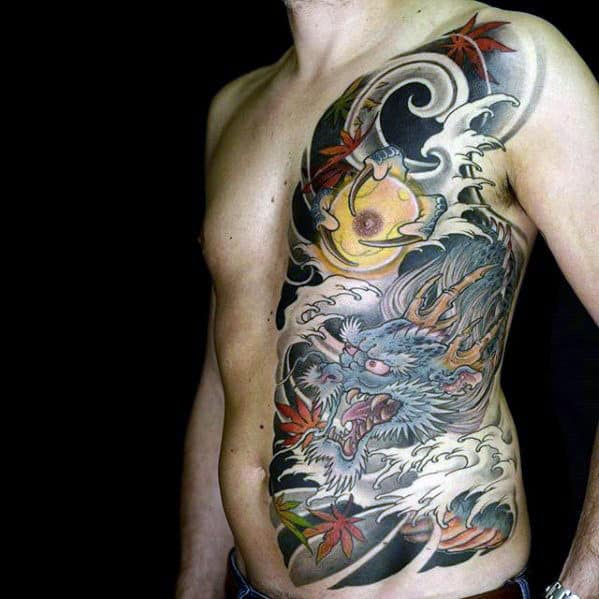 Man With Half Chest Japanese Blue Dragon Tattoo