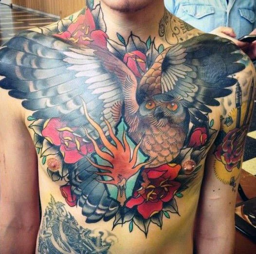 Man With Half Chest Owl Tattoo And Roses