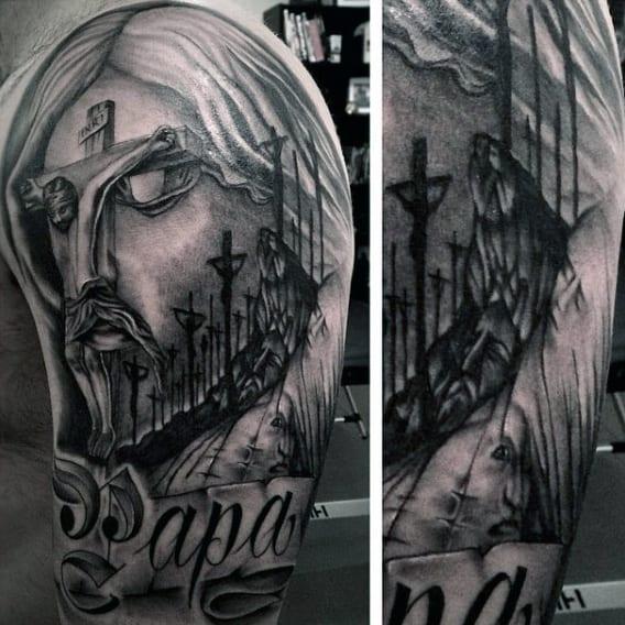 Man With Half Sleeve Christian Tattoos