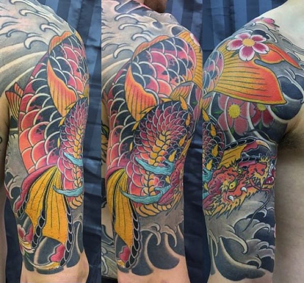 50 Koi Dragon Tattoo Designs For Men - Japanese Fish Ink Ideas
