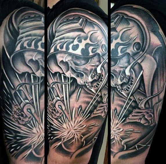 Man With Half Sleeve Skeleton Welding Tattoo