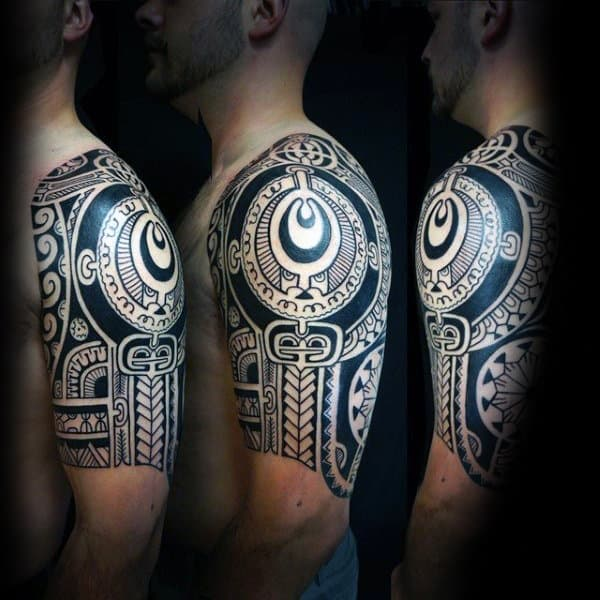 Man With Half Sleeve Tattoo Design Tribal