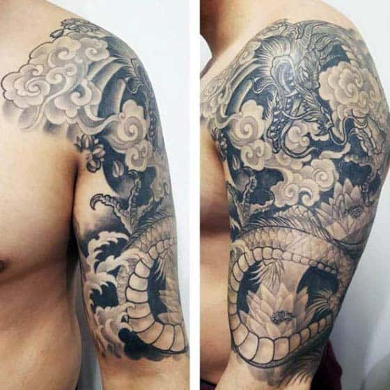 Man With Half Sleeve Tattoo Of Shaded Japanese Dragon
