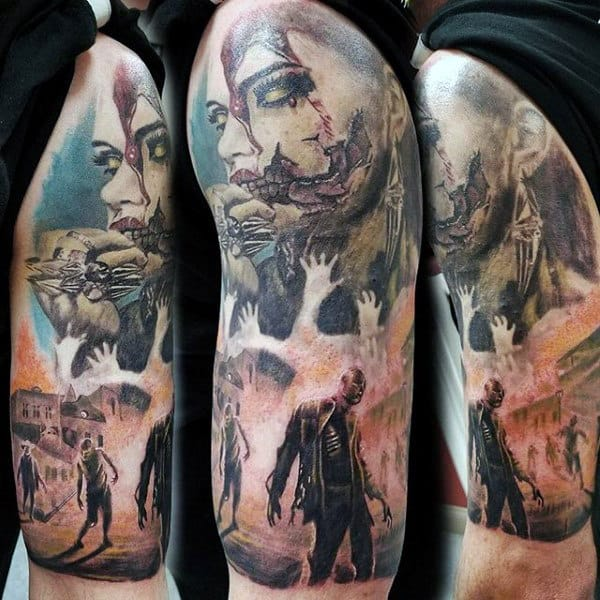 Man With Half Sleeve Walking Dead Zombie Tattoo