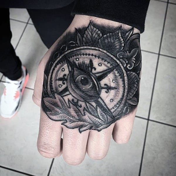 Man With Hand Tattoo Of Nautical Compass Design