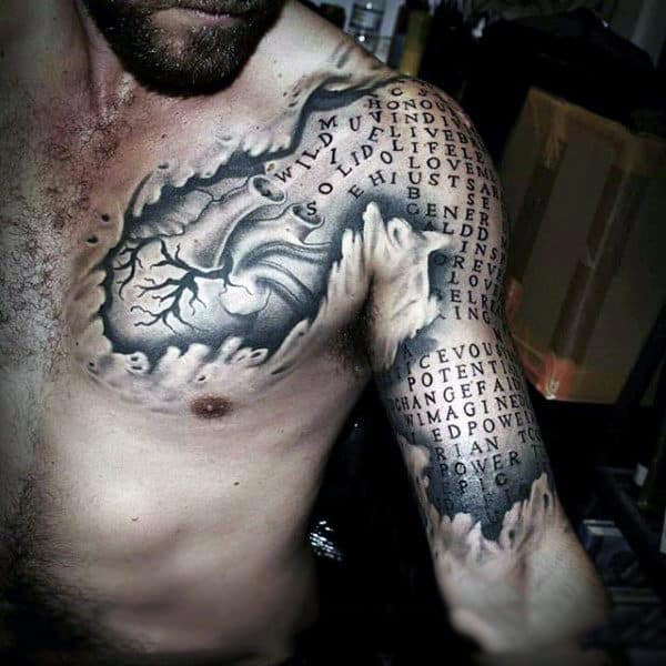 Man With Heart And Letters Ripped Skin 3d Optical Illusion Tattoo On Chest And Arm
