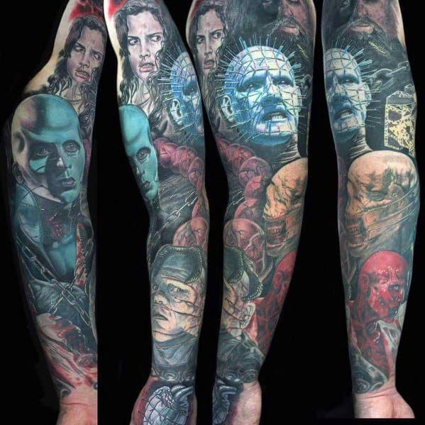 Man With Hellraiser Tattoo Design Full Arm Sleeve