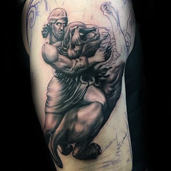 Man With Hercules Fighting Lion Upper Arm Tattoo