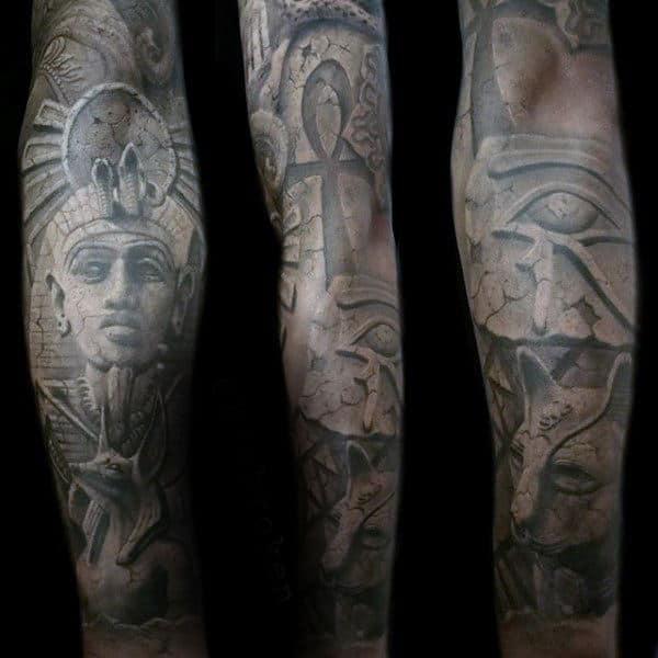 Man With Hieroglyphic Ankh Ancient Egypt Themed Sleeve Tattoo