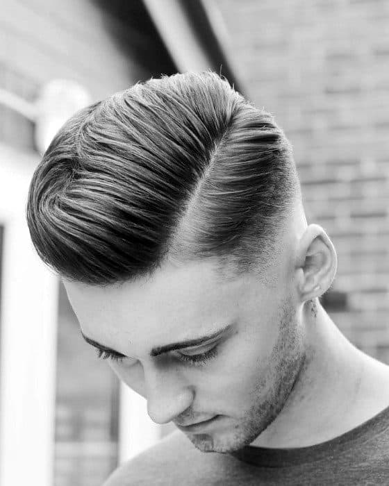 Man With High Fade Haircut Comb Over