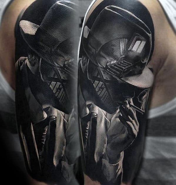 Man With Hyper Realistic Staircase Half Sleeve Tattoo