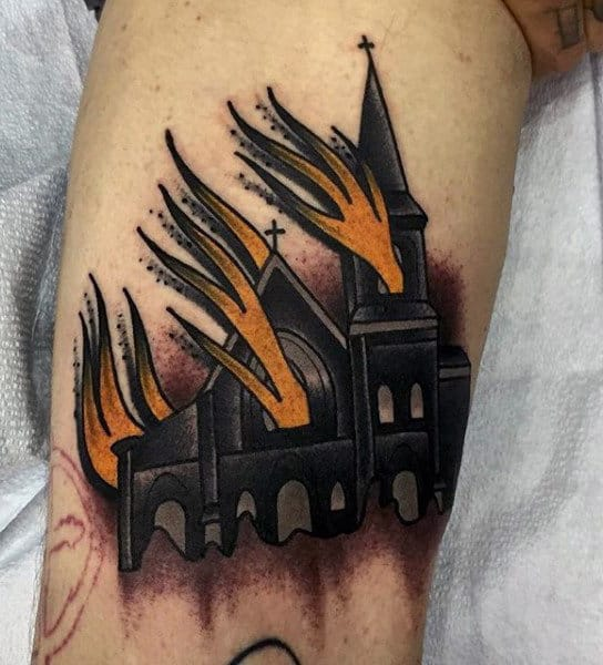 Man With In Flames Tattoo Of Haunted House