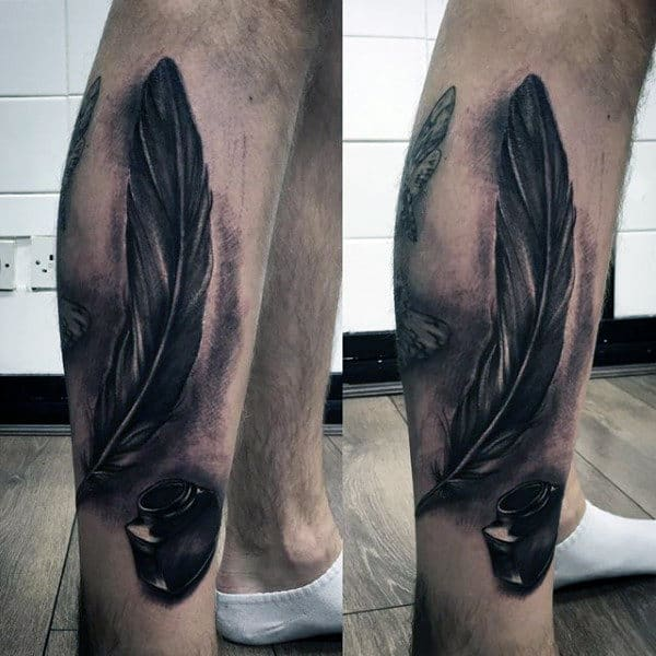 Man With Ink Bottle And Feather Tattoo On Calves