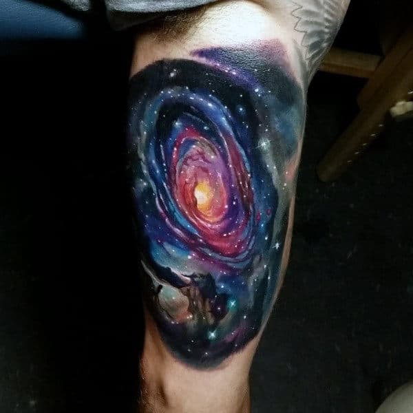Man With Inner Arm Realistic Galaxy Tattoo